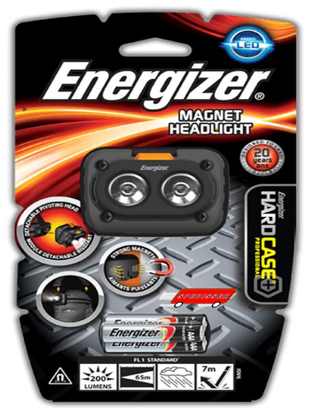 Lampe frontale Energizer IPX4 - 200 lumens + 3 piles LR03