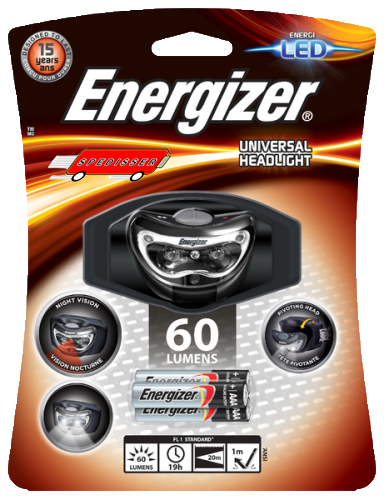 Lampe frontale Energizer 3 led + 3 piles LR03 incluses