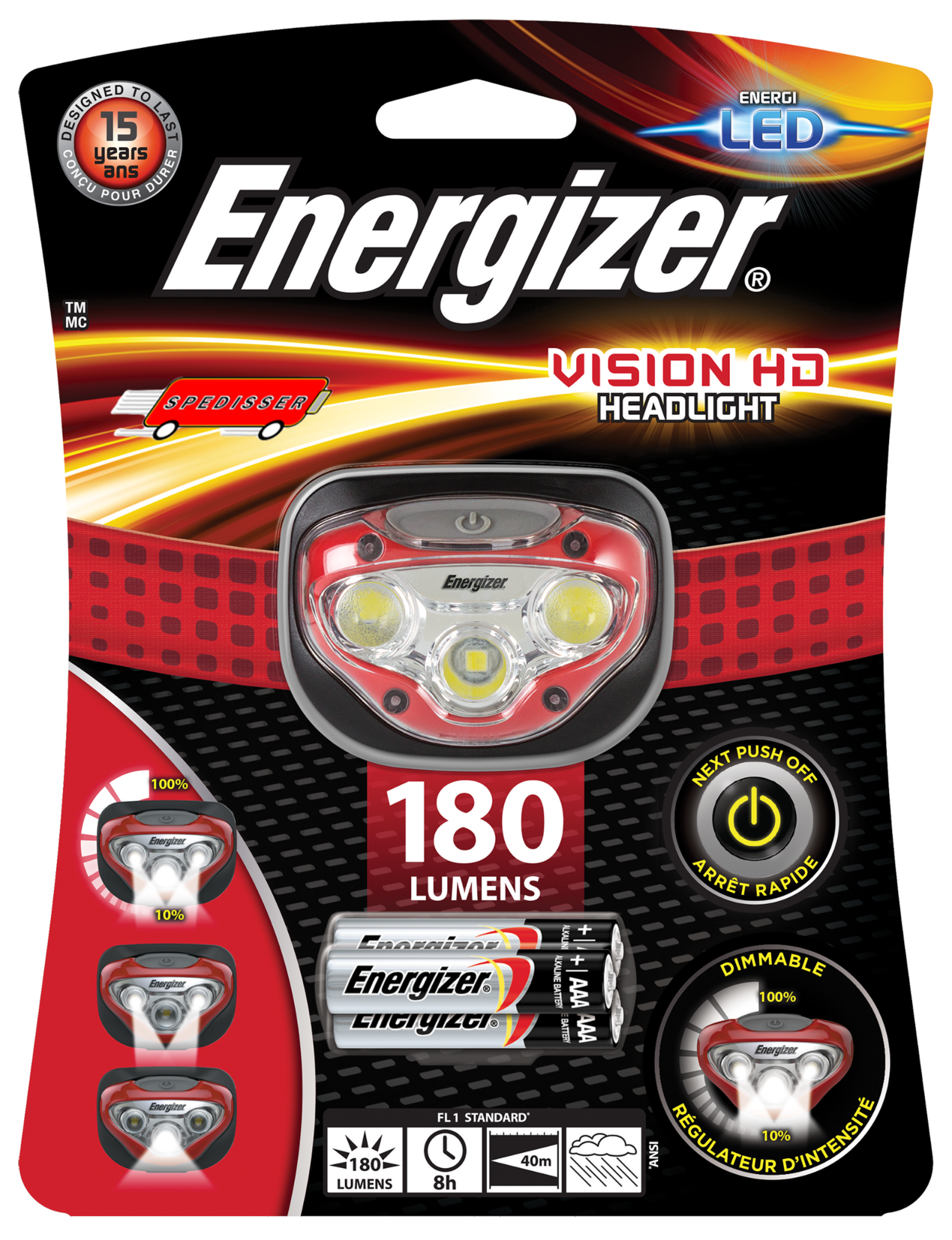 Lampe frontale Energizer 4 Led + 3 piles LR03 incluses