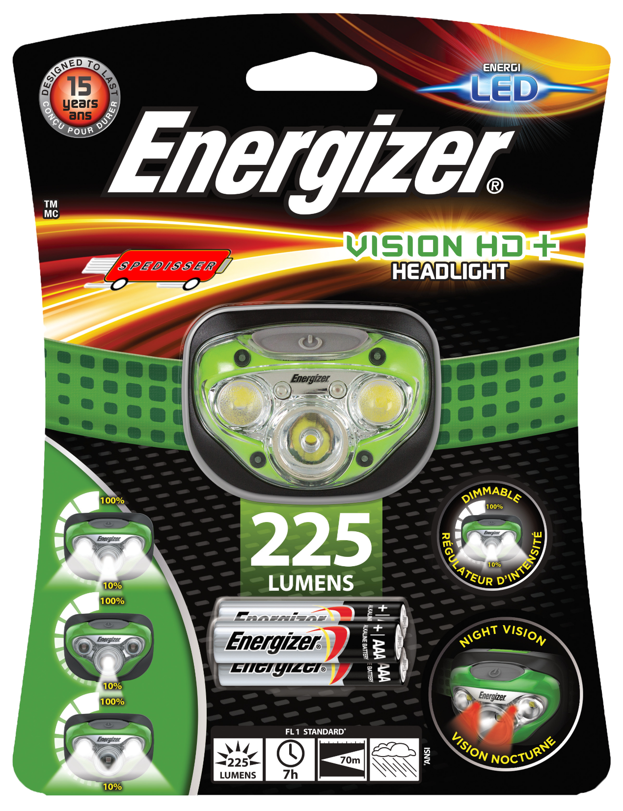 Lampe frontale Energizer 7 led + 3 piles LR03 incluses