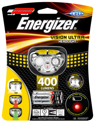 Lampe frontale Led Vision Ultra - 400 lumens + 3 piles LR03 - Energizer