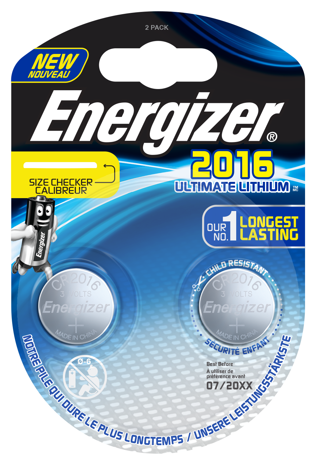 Blister de 2 piles CR2016 - Energizer Ultimate Lithium - 3V
