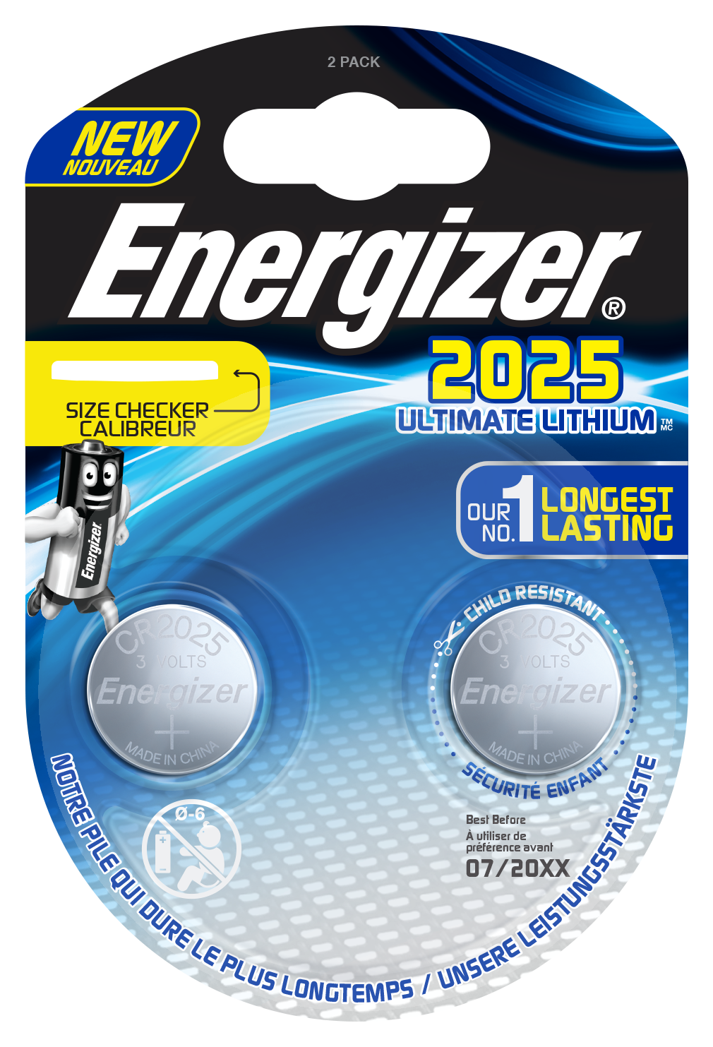 Blister de 2 piles CR2025 - Energizer Ultimate Lithium - 3V