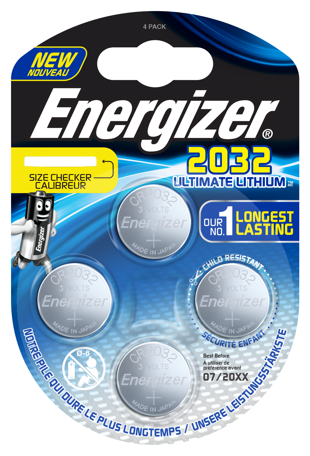 Blister de 4 piles CR2032 - Energizer Ultimate Lithium - 3V